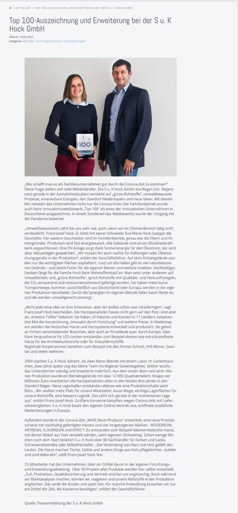Pressebericht der Technologieregion Arberland vom 10.05.2021